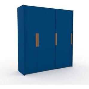 Kleiderschrank Blau - Individueller Designer-Kleiderschrank - 214 x 233 x 65 cm, Selbst Designen, Böden/hohe Schublade/Kleiderstange