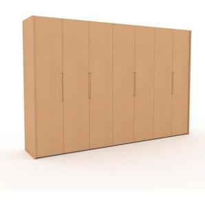 Kleiderschrank Buche, Holz - Individueller Designer-Kleiderschrank - 354 x 233 x 62 cm, Selbst Designen, Kleiderstange/hohe Schublade/Kleiderlift