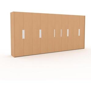 Kleiderschrank Buche, Holz - Individueller Designer-Kleiderschrank - 504 x 233 x 62 cm, Selbst Designen, hohe Schublade/Schublade Glasfront/Kleiderlift/Hosenhalter