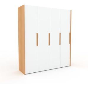 Kleiderschrank Buche - Individueller Designer-Kleiderschrank - 204 x 233 x 62 cm, Selbst Designen, Kleiderstange/hohe Schublade/Schublade Glasfront/Hosenhalter