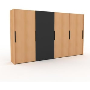 Kleiderschrank Buche - Individueller Designer-Kleiderschrank - 404 x 233 x 65 cm, Selbst Designen, hohe Schublade/Schublade Glasfront/Kleiderlift