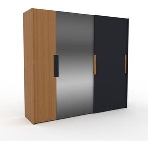 Kleiderschrank Eiche/Anthrazit, Holz - Individueller Designer-Kleiderschrank - 254 x 233 x 65 cm, Selbst Designen, Schuhauszug/hohe Schublade/Kleiderlift/Hosenhalter