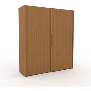 Kleiderschrank Eiche, Holz - Individueller Designer-Kleiderschrank - 204 x 233 x 65 cm, Selbst Designen, Kleiderstange/hohe Schublade