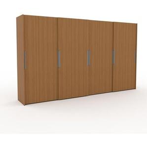 Kleiderschrank Eiche, Holz - Individueller Designer-Kleiderschrank - 404 x 233 x 65 cm, Selbst Designen, Schuhauszug/Kleiderstange/hohe Schublade