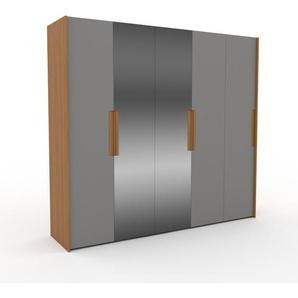 Kleiderschrank Eiche - Individueller Designer-Kleiderschrank - 254 x 233 x 62 cm, Selbst Designen, Böden/hohe Schublade/Kleiderstange
