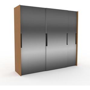 Kleiderschrank Eiche - Individueller Designer-Kleiderschrank - 254 x 233 x 65 cm, Selbst Designen, Kleiderstange/hohe Schublade/Schublade Glasfront