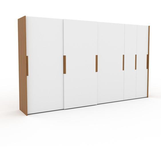 Kleiderschrank Eiche - Individueller Designer-Kleiderschrank - 404 x 233 x 65 cm, Selbst Designen, Schuhauszug/Kleiderstange/hohe Schublade/Schublade Glasfront/Hosenhalter