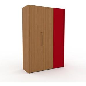 Kleiderschrank Eiche/Rot - Individueller Designer-Kleiderschrank - 154 x 233 x 62 cm, Selbst Designen, Kleiderstange/Kleiderlift