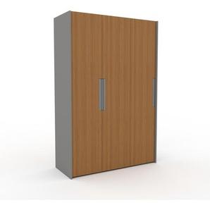 Kleiderschrank Grau, Holz - Individueller Designer-Kleiderschrank - 154 x 233 x 62 cm, Selbst Designen, hohe Schublade/Kleiderlift
