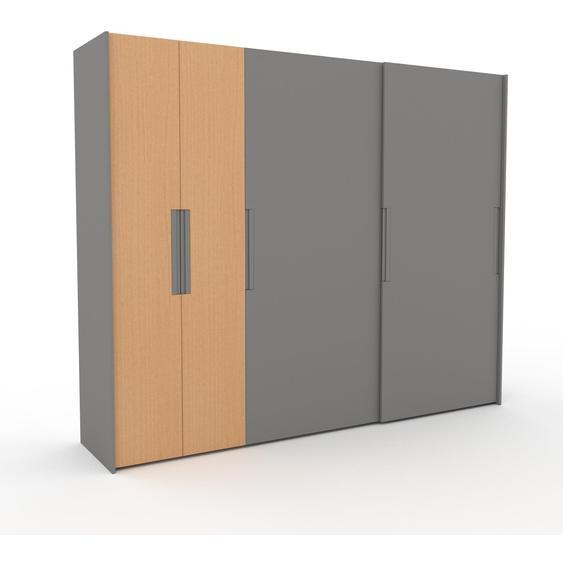 Kleiderschrank Grau, Holz - Individueller Designer-Kleiderschrank - 284 x 233 x 65 cm, Selbst Designen, Böden/hohe Schublade/Kleiderstange