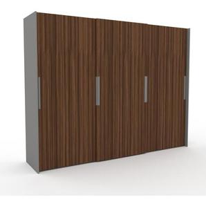 Kleiderschrank Grau, Holz - Individueller Designer-Kleiderschrank - 304 x 233 x 65 cm, Selbst Designen, Kleiderstange/hohe Schublade/Kleiderlift