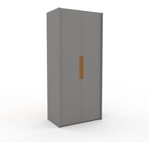 Kleiderschrank Grau - Individueller Designer-Kleiderschrank - 104 x 233 x 62 cm, Selbst Designen, Kleiderstange/Schublade Glasfront