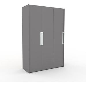Kleiderschrank Grau - Individueller Designer-Kleiderschrank - 154 x 233 x 62 cm, Selbst Designen, Schuhauszug/Kleiderstange/Schublade Glasfront/Kleiderlift/Hosenhalter