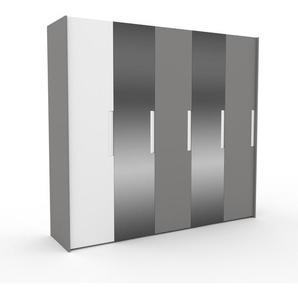 Kleiderschrank Grau - Individueller Designer-Kleiderschrank - 254 x 233 x 62 cm, Selbst Designen, hohe Schublade/Kleiderlift/Hosenhalter