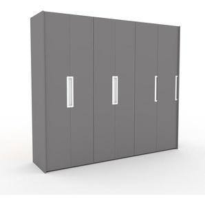 Kleiderschrank Grau - Individueller Designer-Kleiderschrank - 264 x 233 x 62 cm, Selbst Designen, Kleiderstange/hohe Schublade