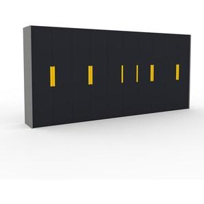 Kleiderschrank Grau - Individueller Designer-Kleiderschrank - 504 x 233 x 62 cm, Selbst Designen, hohe Schublade/Schublade Glasfront/Kleiderlift/Hosenhalter
