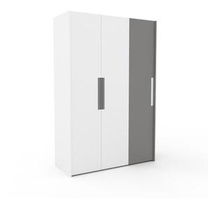 Kleiderschrank Weiß/Grau - Individueller Designer-Kleiderschrank - 154 x 233 x 62 cm, Selbst Designen, hohe Schublade/Kleiderlift