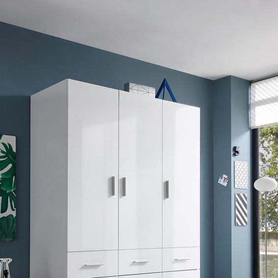 Kleiderschrank Hagen, mit Schubkästen 135 x 195 57 (B H T) cm, 3-türig weiß Drehtürenschränke Kleiderschränke Schränke