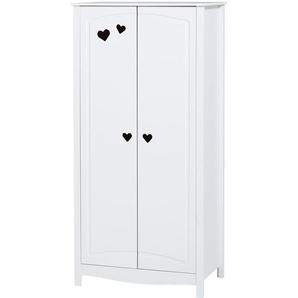 Kleiderschrank Hvide Sande (2-türig, weiß lackiert)