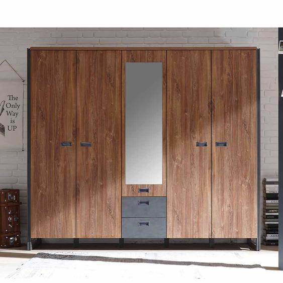Kleiderschrank im Loft Design Eiche dunkel Schiefer Grau
