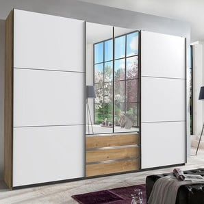 Kleiderschrank in Plankeneiche-Nachbildung - Außentüren in Weiß, Schwebetüren-Schrank mit 3 Schubkästen, 2 Spiegeltüren, 300 cm
