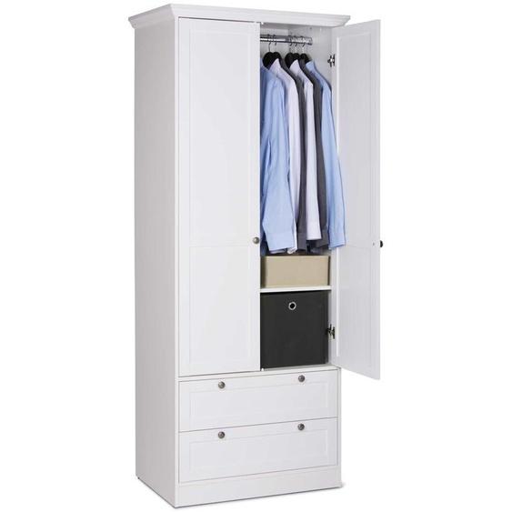 Kleiderschrank in weiß, 2 Türen, 2 Schubkästen, 1 Kleiderstange, Griff-Knöpfe Antik-Optik, Profilleiste und Rahmentüren, Maße: B/H/T ca. 80/200/51 cm
