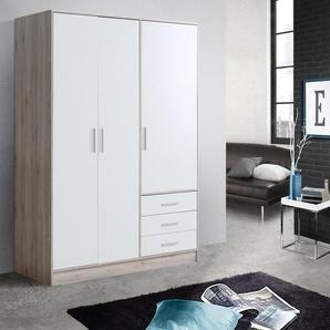 Kleiderschrank in diversen Ausführungen, weiß, Breite 145 cm, 3-türig, mit Schubkästen, FSC®-zertifiziert, FORTE
