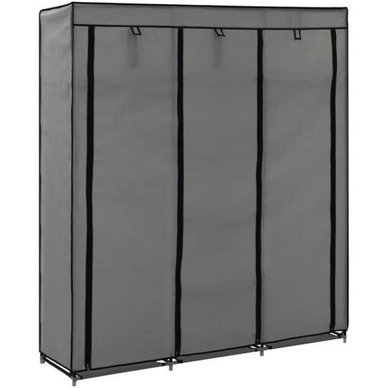 Kleiderschrank mit Fächern und Stangen Grau 150x45x175cm Stoff