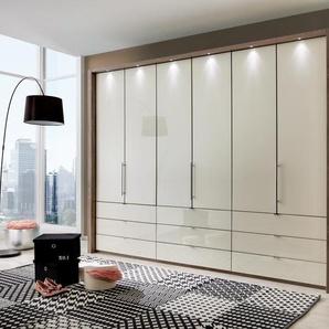 Kleiderschrank mit Gleittüren-Panorama-Funktion in Trüffeleiche-Nachbildung,Glasfront in magnolie,6 Türen und 9 Auszügen,Maße: B/H/T ca. 300/216/58 cm
