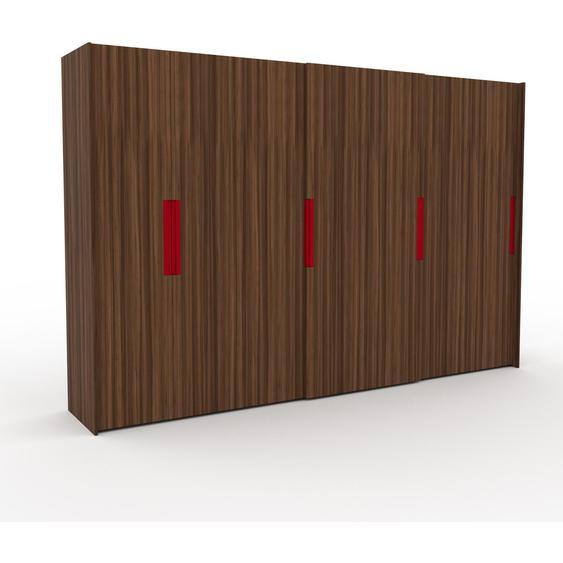Kleiderschrank Nussbaum, Holz - Individueller Designer-Kleiderschrank - 354 x 233 x 65 cm, Selbst Designen, hohe Schublade/Schublade Glasfront/Kleiderlift