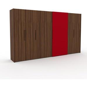 Kleiderschrank Nussbaum, Holz - Individueller Designer-Kleiderschrank - 404 x 233 x 62 cm, Selbst Designen, Böden/hohe Schublade/Schublade Glasfront/drawer_small_fronts/Kleiderlift/Hosenhalter
