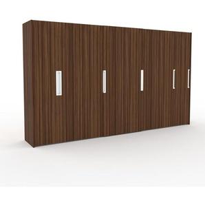 Kleiderschrank Nussbaum, Holz - Individueller Designer-Kleiderschrank - 404 x 233 x 65 cm, Selbst Designen, Kleiderstange/hohe Schublade/Schublade Glasfront/Kleiderlift/Hosenhalter