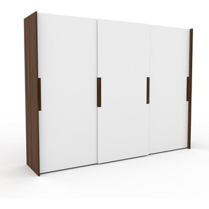 Kleiderschrank Nussbaum - Individueller Designer-Kleiderschrank - 304 x 233 x 65 cm, Selbst Designen, hohe Schublade/Schublade Glasfront/Kleiderlift