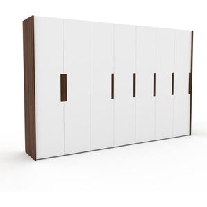 Kleiderschrank Nussbaum - Individueller Designer-Kleiderschrank - 354 x 233 x 62 cm, Selbst Designen, hohe Schublade/Schublade Glasfront/Kleiderlift