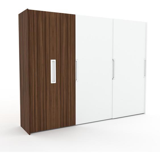 Kleiderschrank Nussbaum/Weiß, Holz - Individueller Designer-Kleiderschrank - 304 x 233 x 65 cm, Selbst Designen, Böden/Kleiderlift/Kleiderstange