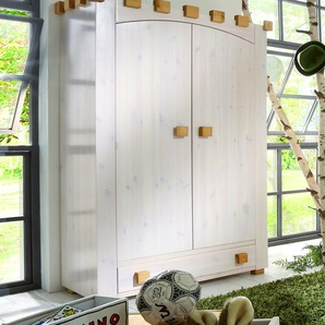 Kleiderschrank Ritterburg, weiß mit Holzstruktur