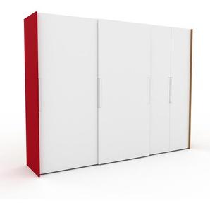 Kleiderschrank Rot/Eiche - Individueller Designer-Kleiderschrank - 304 x 233 x 65 cm, Selbst Designen, hohe Schublade/Kleiderlift