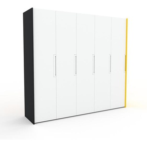 Kleiderschrank Schwarz/Gelb - Individueller Designer-Kleiderschrank - 254 x 233 x 62 cm, Selbst Designen, Kleiderstange/Schublade Glasfront