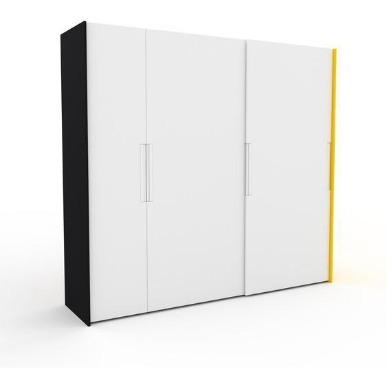 Kleiderschrank Schwarz/Gelb - Individueller Designer-Kleiderschrank - 254 x 233 x 65 cm, Selbst Designen, Kleiderstange/hohe Schublade/Kleiderlift