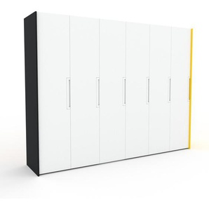 Kleiderschrank Schwarz/Gelb - Individueller Designer-Kleiderschrank - 304 x 233 x 62 cm, Selbst Designen, Kleiderstange/Kleiderlift