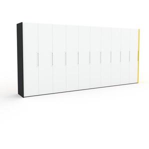 Kleiderschrank Schwarz/Gelb - Individueller Designer-Kleiderschrank - 504 x 233 x 62 cm, Selbst Designen, Schuhauszug/Kleiderstange/hohe Schublade/Schublade Glasfront/Kleiderlift/Hosenhalter