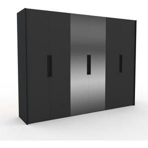 Kleiderschrank Schwarz - Individueller Designer-Kleiderschrank - 304 x 233 x 62 cm, Selbst Designen, Kleiderstange/hohe Schublade/Schublade Glasfront
