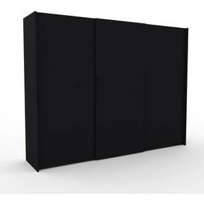 Kleiderschrank Schwarz - Individueller Designer-Kleiderschrank - 304 x 233 x 65 cm, Selbst Designen, Schuhauszug/hohe Schublade/Schublade Glasfront/Kleiderlift/Hosenhalter