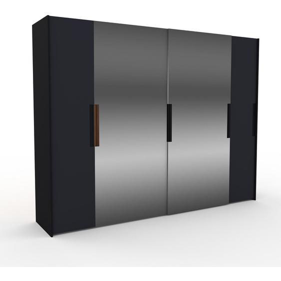 Kleiderschrank Schwarz - Individueller Designer-Kleiderschrank - 304 x 233 x 65 cm, Selbst Designen, Böden/hohe Schublade/Schublade Glasfront/Hosenhalter/Schuhauszug/Kleiderstange