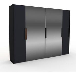 Kleiderschrank Schwarz - Individueller Designer-Kleiderschrank - 304 x 233 x 65 cm, Selbst Designen, Schuhauszug/Kleiderstange/hohe Schublade/Schublade Glasfront/Hosenhalter