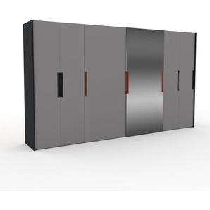Kleiderschrank Schwarz - Individueller Designer-Kleiderschrank - 404 x 233 x 65 cm, Selbst Designen, hohe Schublade/Schublade Glasfront/Kleiderlift/Hosenhalter