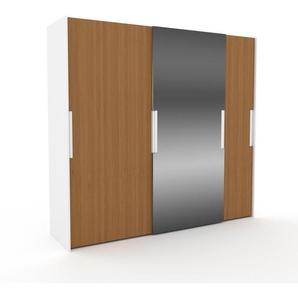 Kleiderschrank Weiß, Holz - Individueller Designer-Kleiderschrank - 254 x 233 x 65 cm, Selbst Designen, Kleiderstange/hohe Schublade