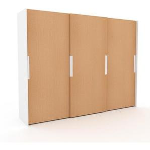 Kleiderschrank Weiß, Holz - Individueller Designer-Kleiderschrank - 304 x 233 x 65 cm, Selbst Designen, hohe Schublade/Schublade Glasfront/Kleiderlift