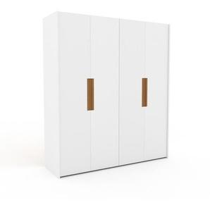 Kleiderschrank Weiß - Individueller Designer-Kleiderschrank - 204 x 233 x 62 cm, Selbst Designen, Kleiderstange/hohe Schublade/Schublade Glasfront/Hosenhalter