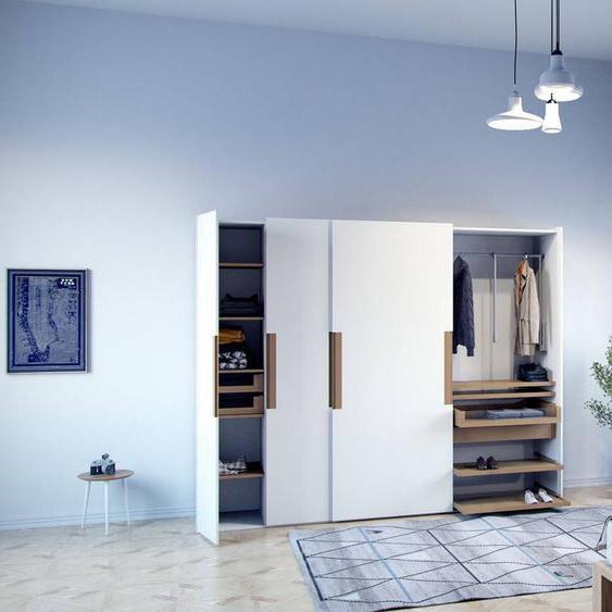 Kleiderschrank Weiß - Individueller Designer-Kleiderschrank - 214 x 233 x 65 cm, Selbst Designen, Schuhauszug/hohe Schublade/Schublade Glasfront/Kleiderlift